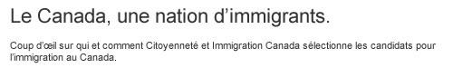 Le Canada, un nation d'immigrants